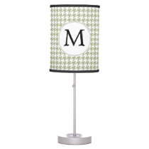 Personalized Monogram Sage Houndstooth Pattern Desk Lamp