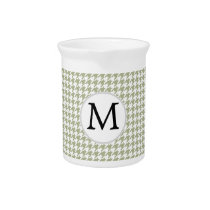 Personalized Monogram Sage Houndstooth Pattern Drink Pitcher