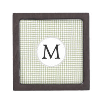 Personalized Monogram Sage Houndstooth Pattern Gift Box