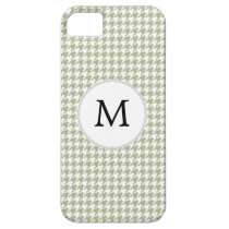 Personalized Monogram Sage Houndstooth Pattern iPhone SE/5/5s Case