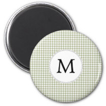 Personalized Monogram Sage Houndstooth Pattern Magnet