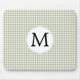 Personalized Monogram Sage Houndstooth Pattern Mouse Pad