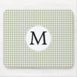 Personalized Monogram Sage Houndstooth Pattern Mouse Pads