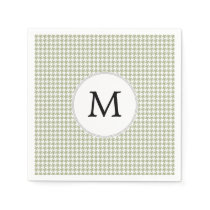 Personalized Monogram Sage Houndstooth Pattern Paper Napkin