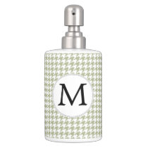 Personalized Monogram Sage Houndstooth Pattern Soap Dispenser And Toothbrush Holder