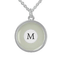 Personalized Monogram Sage Houndstooth Pattern Sterling Silver Necklace