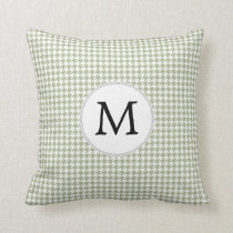 Personalized Monogram Sage Houndstooth Pattern Throw Pillow