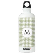 Personalized Monogram Sage Houndstooth Pattern Water Bottle