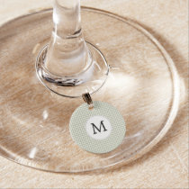 Personalized Monogram Sage Houndstooth Pattern Wine Charm