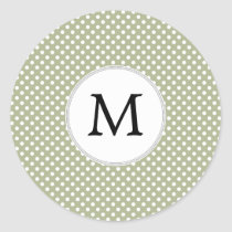 Personalized Monogram Sage polka Dots Pattern Classic Round Sticker