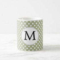Personalized Monogram Sage polka Dots Pattern Coffee Mug