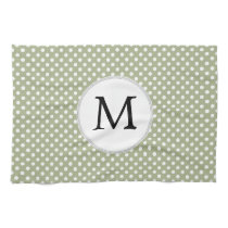 Personalized Monogram Sage polka Dots Pattern Hand Towels