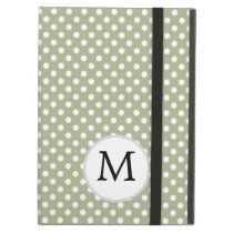 Personalized Monogram Sage polka Dots Pattern iPad Air Case