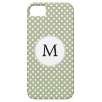Personalized Monogram Sage polka Dots Pattern iPhone SE/5/5s Case