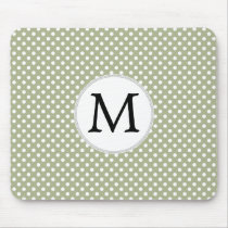 Personalized Monogram Sage polka Dots Pattern Mouse Pad
