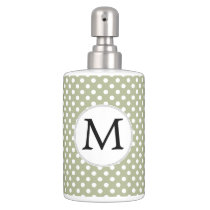 Personalized Monogram Sage polka Dots Pattern Soap Dispenser And Toothbrush Holder