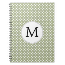 Personalized Monogram Sage polka Dots Pattern Spiral Notebook