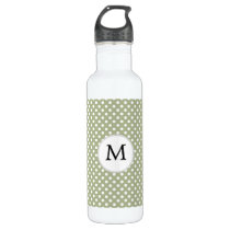 Personalized Monogram Sage polka Dots Pattern Stainless Steel Water Bottle