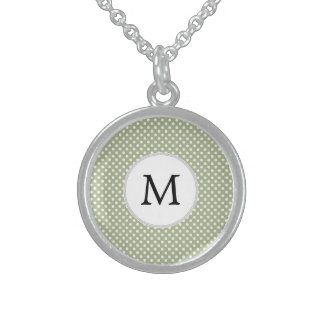 Personalized Monogram Sage polka Dots Pattern Sterling Silver Necklace