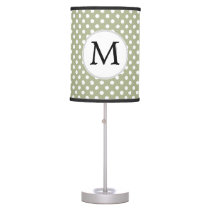 Personalized Monogram Sage polka Dots Pattern Table Lamp