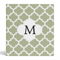 Personalized Monogram Sage Quatrefoil Pattern Binder