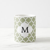 Personalized Monogram Sage Quatrefoil Pattern Coffee Mug