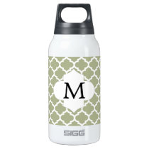 Personalized Monogram Sage Quatrefoil Pattern Insulated Water Bottle