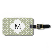 Personalized Monogram Sage Quatrefoil Pattern Luggage Tag