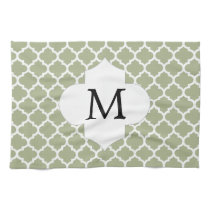 Personalized Monogram Sage Quatrefoil Pattern Towel