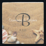 "Personalized Monogram Sea Beach Wedding Gift Favor Stone Coaster<br><div class=""desc"">Having a beach wedding? Give these beach / sea themed wedding coaster favor gifts.  Add bride and groom&#39;s names with last name initial.  Date also can be added.  Custom these with your information.</div>"