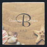 """Personalized Monogram Sea Beach Wedding Gift Favor Stone Coaster<br><div class=""""desc"""">Having a beach wedding? Give these beach / sea themed wedding coaster favor gifts.  Add bride and groom&#39;s names with last name initial.  Date also can be added.  Custom these with your information.</div>"""