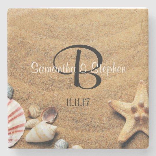 Personalized Beach Wedding Gifts: Personalized Monogram Sea Beach Wedding Gift Favor Stone