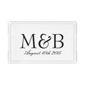 Personalized monogram serving tray for wedding rectangle serving trays