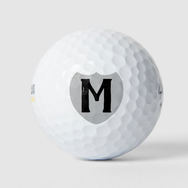 Personalized Monogram Silver Logo Chic Golf Balls
