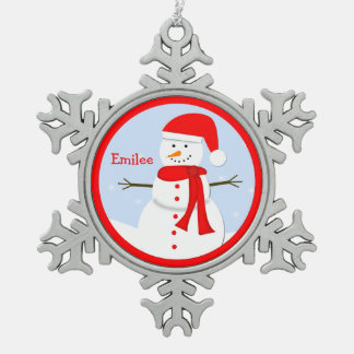Personalized Monogram Snowman Snowflake Ornament