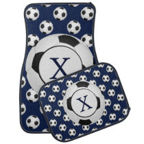 Personalized Monogram Soccer Balls Sports Car Mat