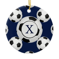 Personalized Monogram Soccer Balls Sports Ceramic Ornament