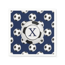 Personalized Monogram Soccer Balls Sports Napkin