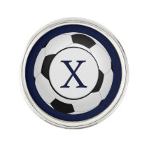 Personalized Monogram Soccer Balls Sports Pin