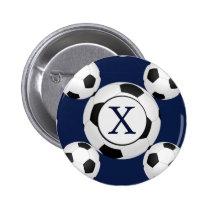 Personalized Monogram Soccer Balls Sports Pinback Button