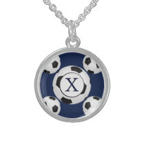 Personalized Monogram Soccer Balls Sports Sterling Silver Necklace