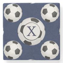 Personalized Monogram Soccer Balls Sports Stone Coaster
