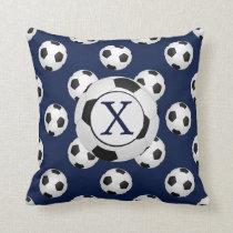 Personalized Monogram Soccer Balls Sports Throw Pillow