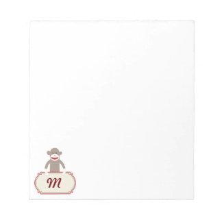 Personalized Monogram Sock Monkey Memo Notepad