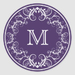 Personalized Monogram Stickers Floral Purple