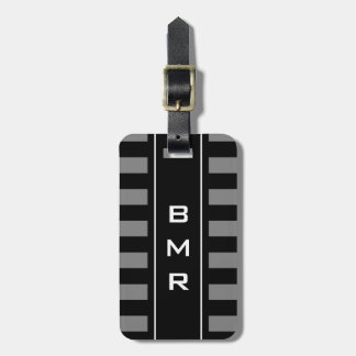 Personalized monogram striped travel luggage tag
