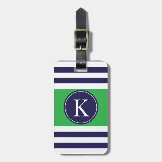 Personalized Monogram Stripes Pattern Navy Green Tag For Luggage