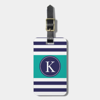 Personalized Monogram Stripes Pattern Navy Teal Luggage Tag