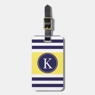 Personalized Monogram Stripes Pattern Navy Yellow Travel Bag Tag