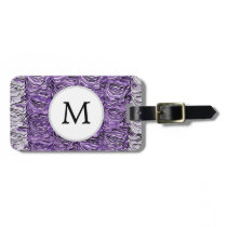 Personalized Monogram stylized purple zebra print Bag Tag